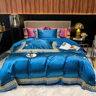 2021新款140s高精密高端柔丝棉刺绣四件套(圣保罗系列) 1.8m床单款四件套 孔雀蓝