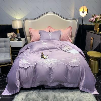2021新款100支长绒棉绣花四件套-花香逸 1.8m床单款四件套 花香逸-紫