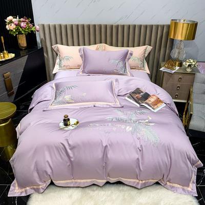 2021新款漫步巴黎80S天丝绣花系列四件套 1.8m床单款四件套 漫步巴黎-熏衣紫