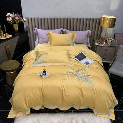 2021新款漫步巴黎80S天丝绣花系列四件套 1.5m床单款四件套 漫步巴黎-至尊黄
