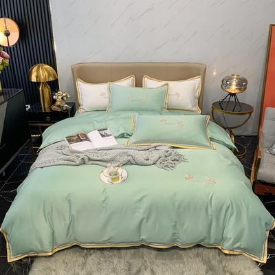 2021新款100支长绒棉绣花四件套-圣加仑 1.8m床单款四件套 圣加仑-艾草绿