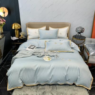 2021新款100支长绒棉绣花四件套-圣加仑 1.8m床单款四件套 圣加仑-天蓝
