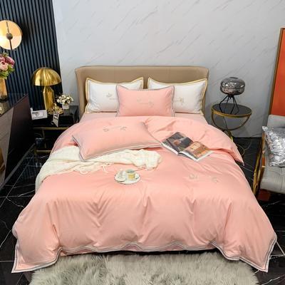 2021新款100支长绒棉绣花四件套-圣加仑 1.8m床单款四件套 圣加仑-玉色