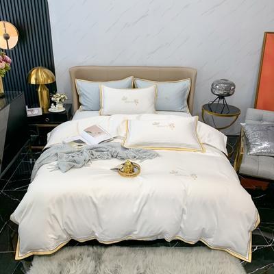 2021新款100支长绒棉绣花四件套-圣加仑 1.8m床单款四件套 圣加仑-珍珠白