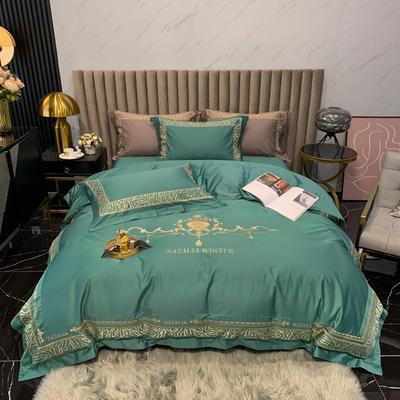 2021新款100支长绒棉绣花四件套-拉斐尔 1.8m床单款四件套 拉斐尔-孔雀绿