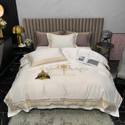 2021新款100支长绒棉绣花四件套-拉斐尔 1.8m床单款四件套 拉斐尔-珍珠白