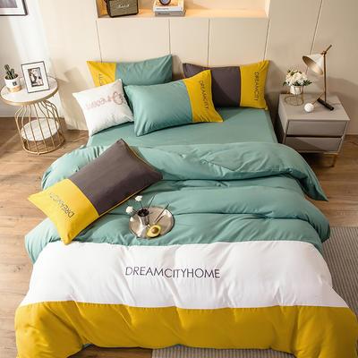 2020新款亲肤磨毛拼色四件套 1.8m床床单款四件套 芥末黄+浅石兰
