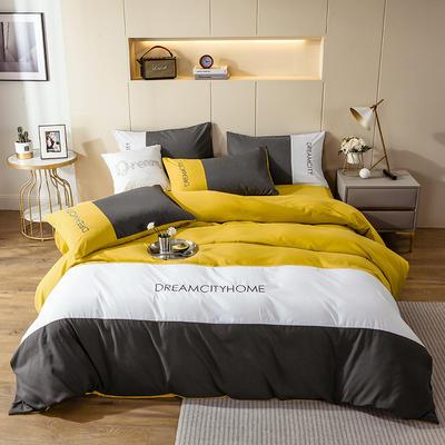 2020新款亲肤磨毛拼色四件套 1.8m床床单款四件套 绅士灰+芥末黄