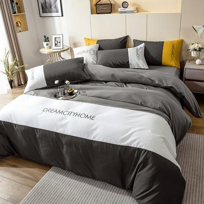 2020新款亲肤磨毛拼色四件套 1.8m床床单款四件套 绅士灰+浅灰