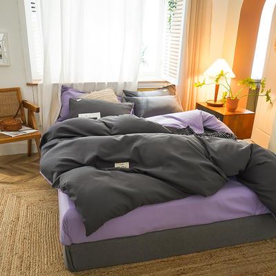 2020新款简约双拼140g加厚磨毛四件套 (可改床笠) 1.5m床单款四件套 深灰+薄紫