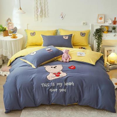 2021新款40S长绒棉绣花四件套—抱抱熊 1.5m床单款四件套 小蜜蜂蓝+柠檬黄