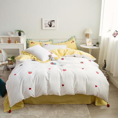 2021新款40S长绒棉绣花四件套—草莓 1.5m床单款四件套 草莓-白