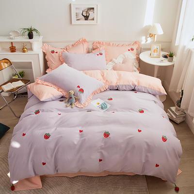 2021新款40S长绒棉绣花四件套—草莓 1.5m床单款四件套 草莓-丁香紫