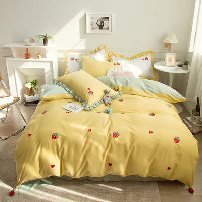 2021新款40S长绒棉绣花四件套—草莓 1.5m床单款四件套 草莓-柠檬黄