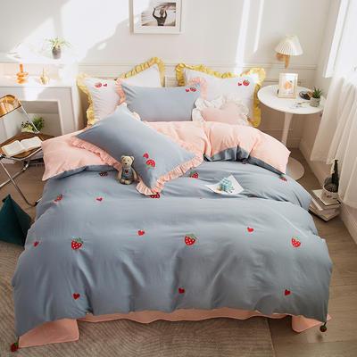 2021新款40S长绒棉绣花四件套—草莓 1.5m床单款四件套 草莓-浅蓝
