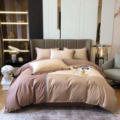 2021新款长绒拼接刺绣款四件套 1.8m床单款四件套 赫-暖棕