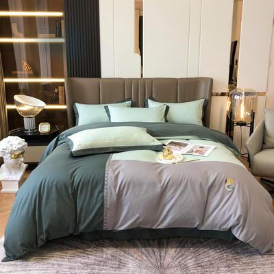 2021新款长绒拼接刺绣款四件套 1.8m床单款四件套 赫-森林绿