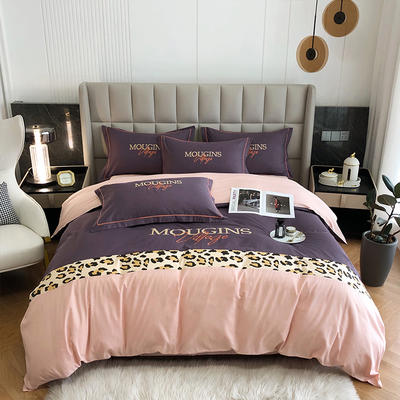 2021新款全棉豹纹拼接刺绣四件套 1.8米床单款四件套 魅惑紫