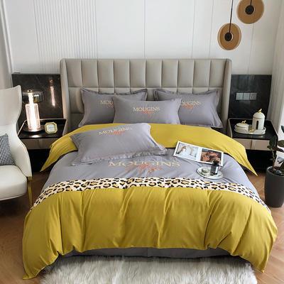 2021新款全棉豹纹拼接刺绣四件套 1.8米床单款四件套 日落黄