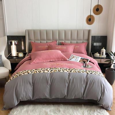 2021新款全棉豹纹拼接刺绣四件套 1.8米床单款四件套 胭脂粉