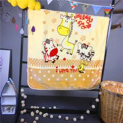 ADL潮品-巧然之家超柔加厚儿童双层云毯 小花猫-黄