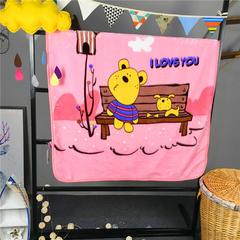 ADL潮品-巧然之家超柔加厚儿童双层云毯 长凳熊-粉