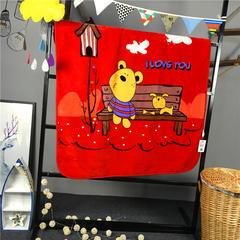 ADL潮品-巧然之家超柔加厚儿童双层云毯 长凳熊-红