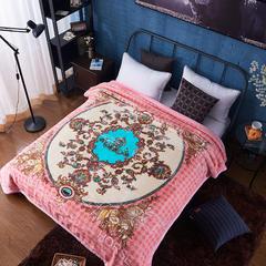 爱马云毯双层奢侈毯拉舍尔绒毯潮牌绒毯 200cmx230cm 爱玛毯-粉