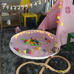 巧然之家简约大气儿童室内帐篷游戏屋印第安风格儿童摄影道具 直径140 粉色
