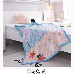 云毯童毯加厚儿童双层绒毯 100*140cm 1.0m(3.3英尺)床 呆萌兔-蓝