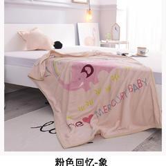 云毯童毯加厚儿童双层绒毯 100*140cm 1.0m(3.3英尺)床 粉色回忆-象
