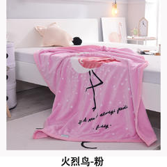 云毯童毯加厚儿童双层绒毯 100*140cm 1.0m(3.3英尺)床 火烈鸟-粉