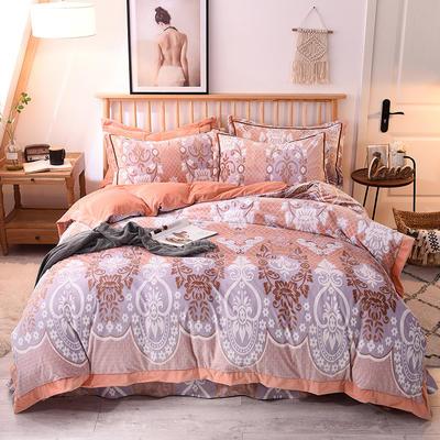 2018年巧然之家5D雕花绒宝宝绒保暖套件立体雕花四件套 2.0m(6.6英尺)床 风靡世界