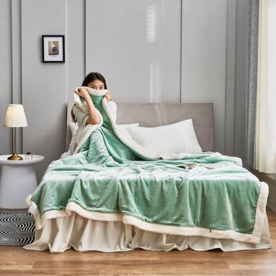 2020新款羊羔绒毛毯被套 150x200cm(单人用) 抹茶绿