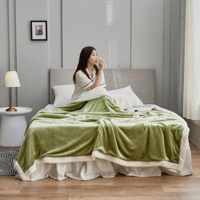 2020新款羊羔绒毛毯被套 150x200cm(单人用) 木果绿