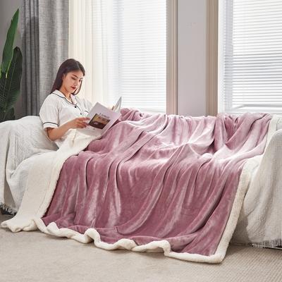 2020新款羊羔绒毛毯被套 150x200cm(单人用) 藕色