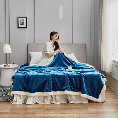 2020新款羊羔绒毛毯被套 150x200cm(单人用) 午夜蓝