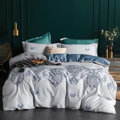 2020新款60S长绒棉印花四件套 1.5m床单款四件套 蓝调