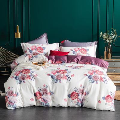 2020新款60S长绒棉印花四件套 1.5m床单款四件套 浪漫玫瑰