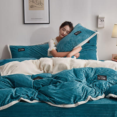 2020新款魔法绒四件套 1.2m床单款三件套 蓝色