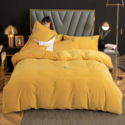 2020新款高克重牛奶绒四件套 1.2m床单款三件套 魅惑-黄(蜜蜂款)