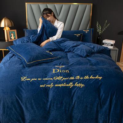 2020新款高克重牛奶绒四件套 1.2m床单款三件套 法式风情-蓝(蜜蜂款)