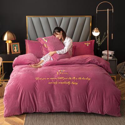 2020新款高克重牛奶绒四件套 1.2m床单款三件套 朱唇胭脂-粉(蜜蜂款)