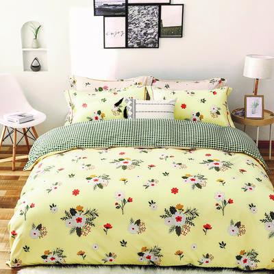 2020新款柔丝棉四件套 1.8m床单款四件套 花儿朵朵-黄