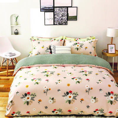 2020新款柔丝棉四件套 1.8m床单款四件套 花儿朵朵-玉