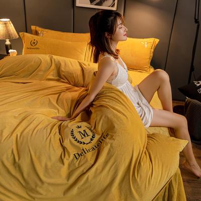 2020新款高克重牛奶绒四件套水晶绒四件套 200x230cm被套床单款四件套 魅惑-黄(M款)