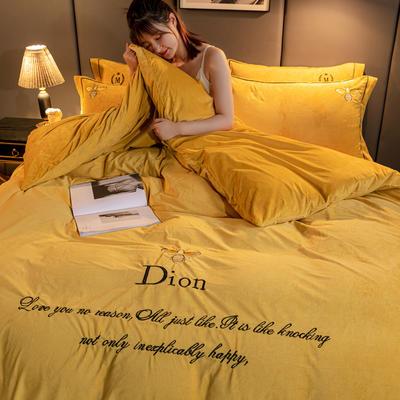 2020新款高克重牛奶绒四件套水晶绒四件套 200x230cm被套床单款四件套 魅惑-黄(蜜蜂款)