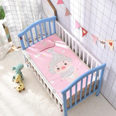 2021新款儿童冰丝凉席 60*120cm 粉色猪猪