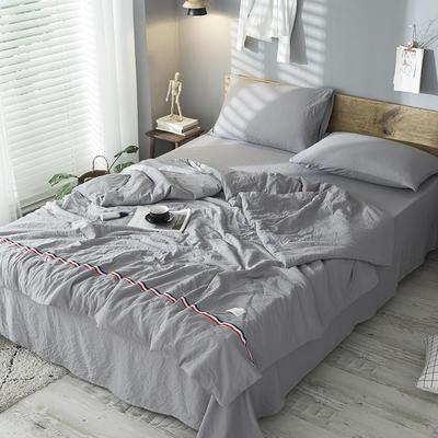 日式纯色泡泡纱夏被件套 200X230cm 单被2.6斤 灰色