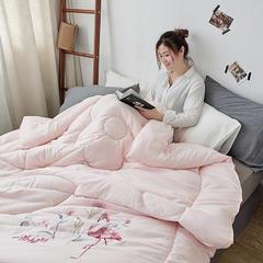 水洗棉绣花冬被 200X230cm 6.3斤 淡粉